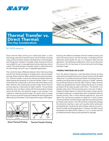 Thermal Transfer vs  Direct Thermal: Five Key Considerations